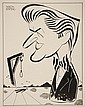 CARICATURE - George Wachsteter (1911-2004) Ink on Illustration Board of Jay Jostin from 'Mr. District Attorney', depicted with victim and hangman's noose in Surrealist landscape, 8 1/2