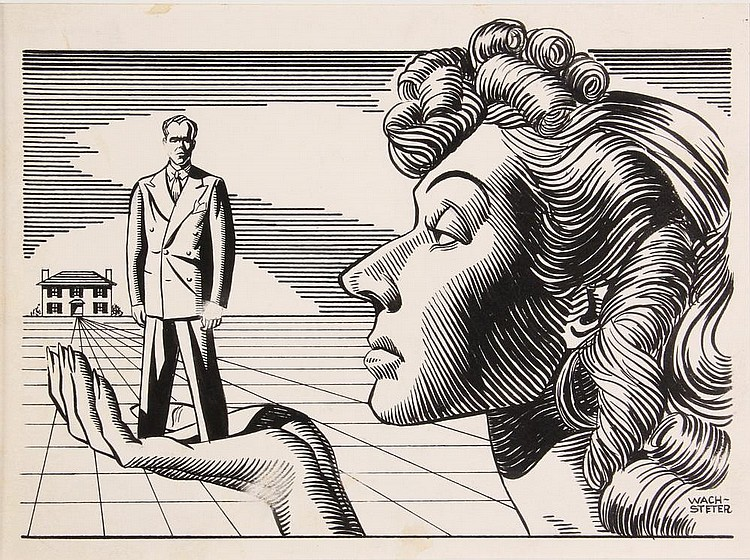 PEN & INK ILLUSTRATION - Drawing by George Wachsteter (1911-2004), for the revival of George Kelly's 'Craig's Wife', starring Philip Ober and Judith Craig, 7 1/2