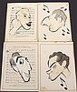 GROUP (4) CARICATURES - George Wachsteter (1911-2004) Ink on Paper Laid over Sheet Music Layouts for Stars of Four Long-Running ca 1950 Broadway Musicals, 8 1/2