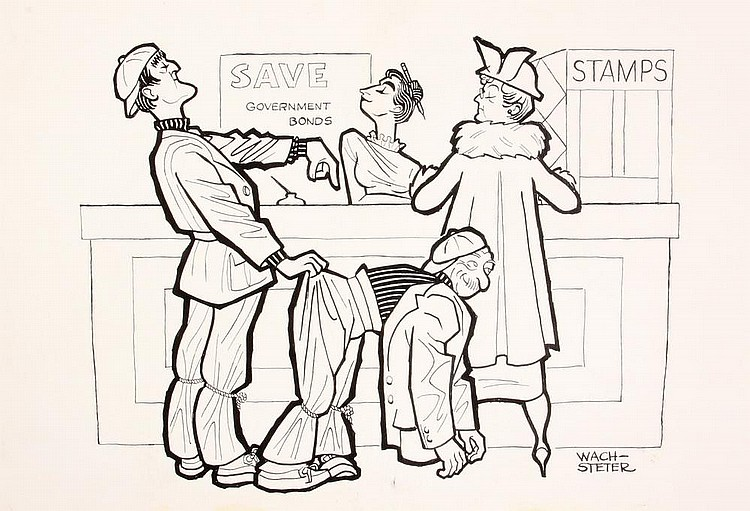 PEN & INK ILLUSTRATION - Caricature by George Wachsteter (1911-2004), of British Comedy Duo and Mellifluos Singers Bud Flanagan & Chesney Allen, who toured the US for a War Bond Drive, 1944-45. 7 1/2