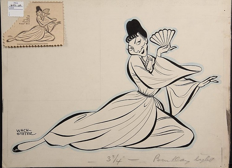 PEN & INK ILLUSTRATION - Caricature by George Wachsteter (1911-2004), of Mary Martin in the Broadway production of 'Lute Song' at the Plymouth Theatre, Feb-June 1946, co-starring a then unknown Yul Brenner 11