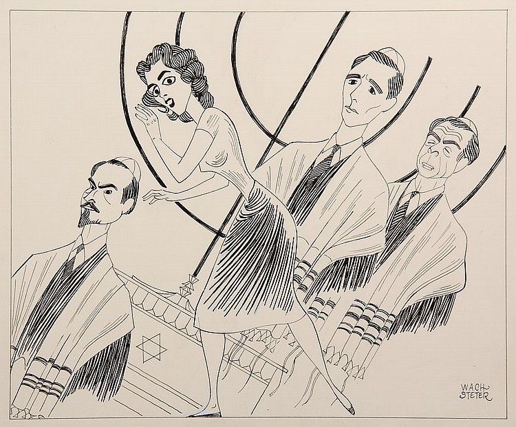PEN & INK ILLUSTRATION - Caricature by George Wachsteter (1911-2004), for the Broadway play 'The Tenth Man' by Emmy-winning TV writer and stage author Paddy Chayefsky, with Risa Schwartz, 11 1/2