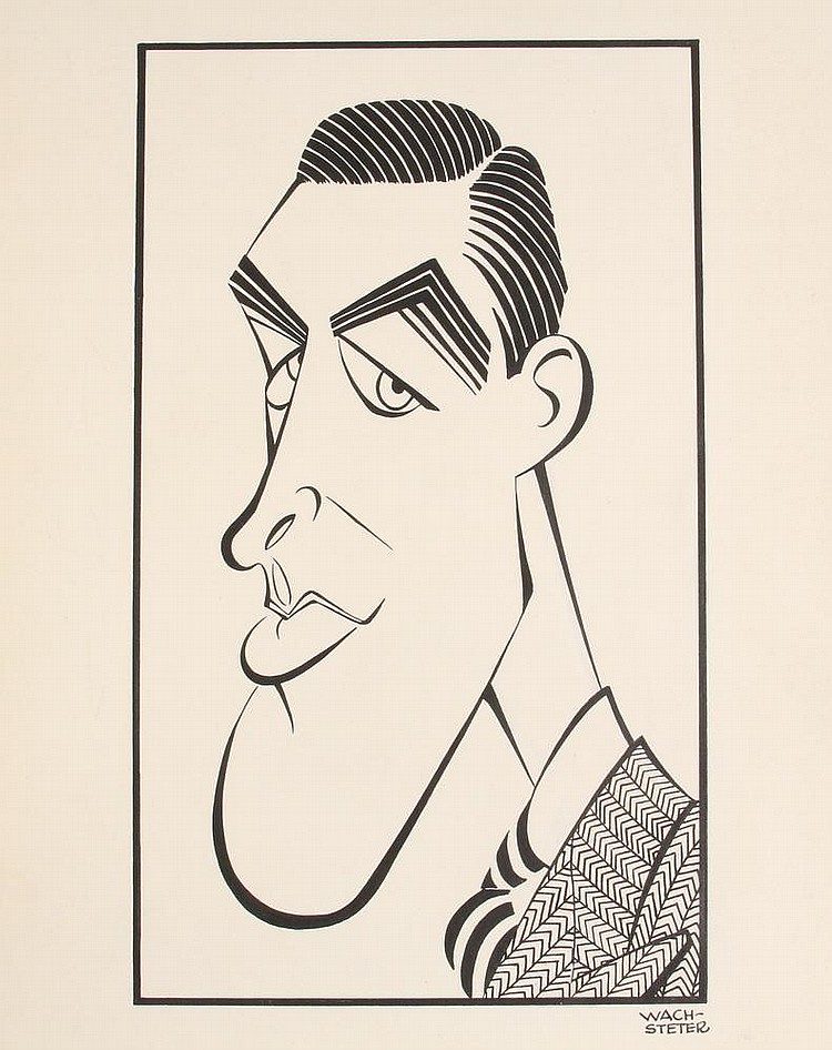 PEN & INK ILLUSTRATION - Caricature by George Wachsteter (1911-2004), of James Stewart for appearance in 'The Theatre Guild on the Air', 11 1/2