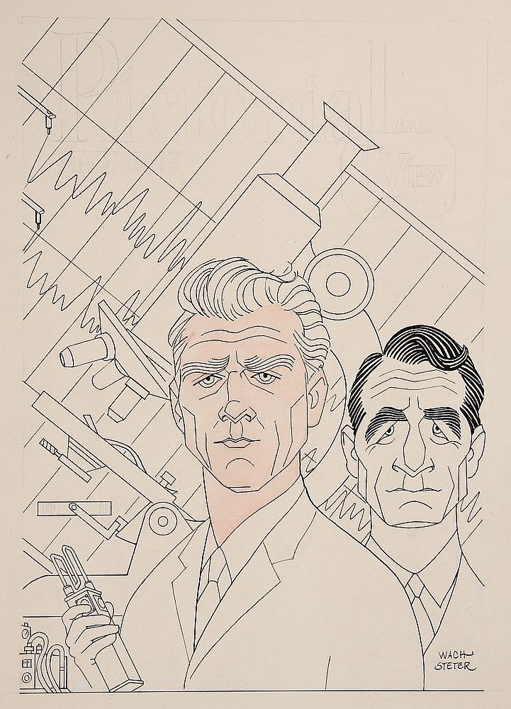 CARICATURE - George Wachsteter (1911-2004) Ink on Illustration Board Caricature Portraits of Leslie Nielsen and John Beradino for ABC-TV's police how 'The New Breed', 14