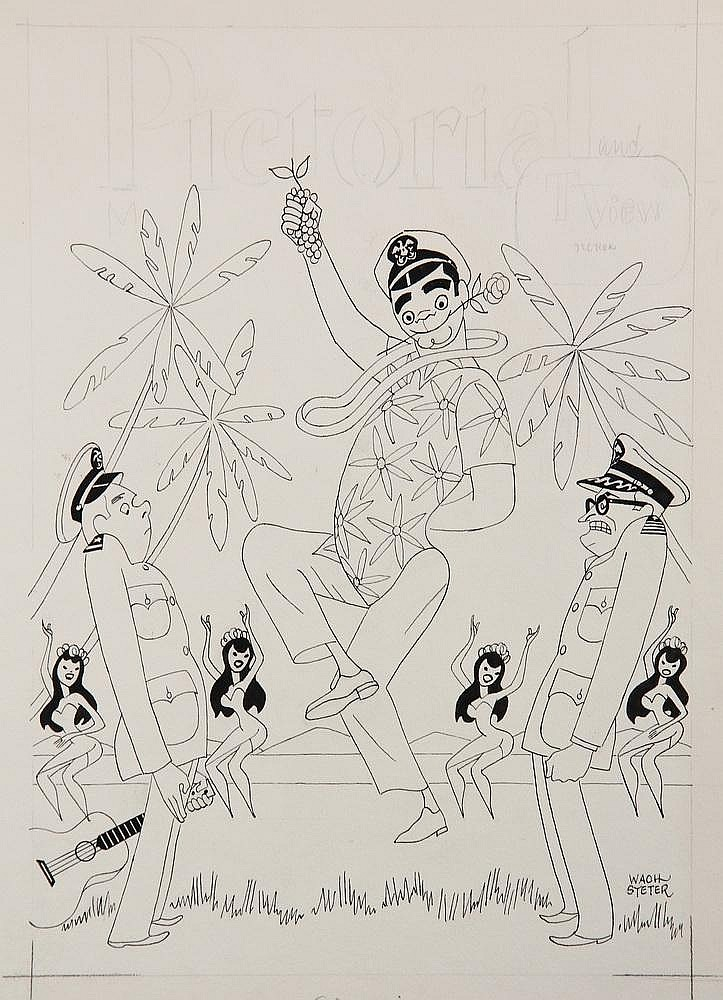 PEN & INK ILLUSTRATION - Caricature by George Wachsteter (1911-2004) for 1962-66 ABC-TV WWII South Pacific Comedy 'McHale's Navy' with Ernest Borgnine, Tim Conway & Joe Flynn. 14