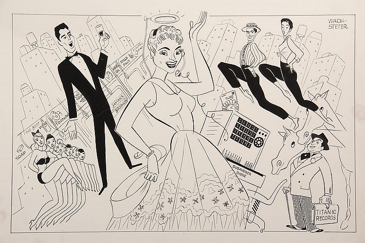 PEN & INK ILLUSTRATION - Caricature by George Wachsteter (1911-2004) of Judy Holliday & Sydney Chaplin in MGM's 1960 'Bells are Ringing', based on the Broadway hit, 11 1/2