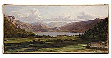 JOHN BRETT (UK, 1831-1902) - 'DERWENT' by John Brett, oil on canvas, unsigned, a distant view of Derwentwater with curving stone wall