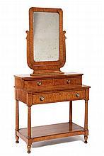 DRESSING TABLE - Bird's-eye Maple Vanity, probably New Hampshire, ca 1840, Regency influenced, lyre yoke mirror atop two drawer set-ba