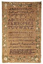 NEEDLEWORK SAMPLER - Alphabet Sampler by Sophia M Ricker, Madbury (New Hampshire), July 24, 1827