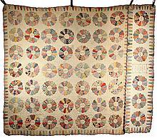 PRESENTATION QUILT & PILLOW SHAM - Matching Set of Dresden Plate Pattern Summer Cotton Quilt & Sham with embroidered placket at center
