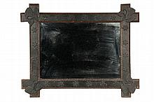 FOLK ART FRAMED MIRROR - 19th c. New England Carved Wood Folk Art Frame in black paint with red detailing, having crossed corners with
