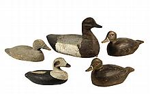 (5) WORKING DECOYS - Late 19th to early 20th c, all unmarked, including: (2) Buffleheads with gouge work feathers and tack eyes, Scoter