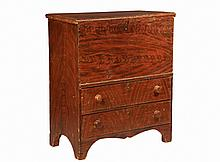 BLANKET CHEST - Maine Grain Painted Pine Blanket Chest, mid 19th c, with single plank lid, sides and double plank back, two drawers at