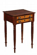 WORK STAND - Sheraton Period Two-Drawer Stand in Walnut, with tiger maple drawer fronts having ebony stringing, brass pulls and escutch