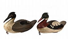 (2) DECOYS - Pair of Male & Female Merganser Decoys by John Paxson of Virginia, early 20th c, in carved and painted wood with horseshoe