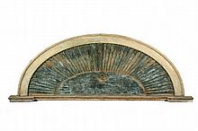 ARCHITECTURAL ELEMENT - American Colonial Period Faux Louvered 'Sunburst' Arch, exterior, pine, with molded edge and shallow pediment