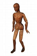 ARTIST'S MANNEQUIN - 19th c. Articulated Mannequin in carved, unfinished softwood, probably French, having detailed head, hands and fe