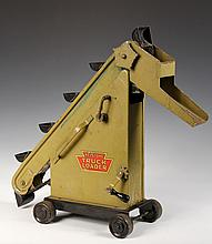 METAL TOY - Keystone Truck Loader, circa 1930, in original olive green paint with decals, folding crank handle, chain driven buckets. 1