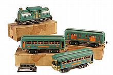 TOY TRAIN SET - Lionel Pre-War Standard Gauge Outfit 352E in peacock green, including Engine 10E; Pullman 339; Railway Mail 332; Observ