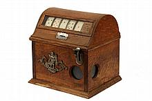 PENNY TRADE STIMULATOR - Oak Cased Coin Operated Five-Card Reel Poker Gambling Device, circa 1910