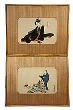 (2) JAPANESE WOODBLOCK PRINTS - Bijin-Ga or Beautiful Women: Composing a Letter, by Shuntei Katsukawa (1770-1820) & Having Hair Groomed