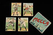 (4) RARE BASEBALL CARDS - 1911 Mecca Base Ball Folder Series (T201), including: Gadner/Speaker, Odwell/Downs, Simon/Liefield & Dygert/S