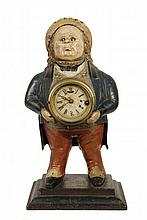 JOHN BULL SHELF CLOCK - Blinking Eye Novelty Clock, circa 1850s, depicting the English Squire prototype, in painted cast iron manufactu