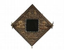 MILITARY COMMEMORATIVE MIRROR - Spanish-American War Era painted pressed tin frame with coat hooks and small dimpled edge mirror, the t
