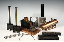 MODEL STEAM BOILER COMPONENTS - Stuart Babcock Boiler parts, in copper, brass and cast iron, plus an unmarked assembled boiler mounted