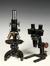 (2) CASED MICROSCOPES - Carl Zeiss Jena Nr 275739, Germany, circa 1930, triple nose-piece, ocular 10x, 13