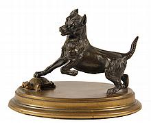BRONZE ANIMALIER SCULPTURE - Terrier Trapping a Turtle, unsigned, 19th c,  on brass molded oval base