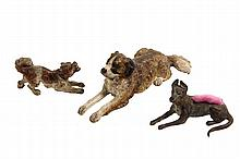 (3) AUSTRIAN BRONZE FIGURES - Cold Painted Dogs, including: a Barking Terrier, a Reclining Saint Bernard and a Reclining Great Dane (wi