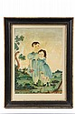 FOLK ART WATERCOLOR - Portrait of Two Children with Dog in Field, circa 1800, Connecticut or New Hampshire, with distant village, the o