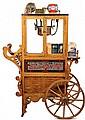REPLICA POPCORN CART - Limited Edition Cretors 1900 Style Reproduction Oak Popcorn Cart with copper bowl, lettered mirror panels, clown