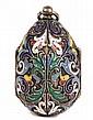 RUSSIAN CLOISONNE ENAMEL EGG PENDANT - Russian gilt silver cloisonne enamel egg form locket pendant, 88 zolotnicki, St. Petersburg 1898