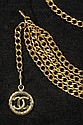 LADY'S LINK BELT - Betti Gold-plated Brass Link Form Chanel Belt with the CC Medallion. 34