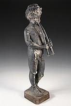 CAST LEAD GARDEN STATUE - Black Painted Lead Sculpture of a Standing Pan Figure, as a young boy with paired pipes. Unsigned, circa 1890