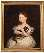 OIL ON CANVAS - American 1850s Portrait of Little Girl in a White Chiffon Dress & Coral Necklace, holding her tabby cat with crossed ar