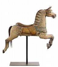 CAROUSEL HORSE - Charles W. Dare 'Track' Horse, circa 1890, probably from a portable carousel, in dapple grey paint with typical sadd