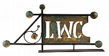 WEATHERVANE - 19th c. Banner Form Vane with piercework initials