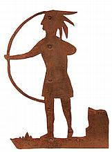 FOLK ART IRON WEATHER VANE - Sheet Metal Vane in the form of a Standing Native American Indian with bow and arrow, riveted to frame, in