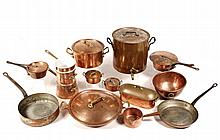 (13 PCS) ANTIQUE FRENCH COPPER COOKWARE - Including: 2 Skillets, Double Boiler, Steamer, Two-handled Covered Pan, 1 Open & 2 Covered Sa