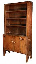 CANT BACK CUPBOARD - Primitive Maine Pumpkin Pine Open Top Cant Back Cupboard with three shelves, beaded edge, two cabinet doors, singl