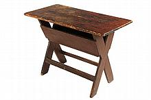 COUNTRY TABLE - Primitive Maine Pine Sawbuck Base Table in old red paint over black, two plank top with breadboard ends, storage trough
