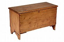 CHILD'S BLANKET BOX - 19th c. Diminutive Maine Pumpkin Pine Blanket box with lift lid, lock, six-plank nailed construction, bootjack e