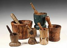 (6) MORTAR & PESTLE SETS - New England Primitive Carved Hardwood M&P Sets, 19th c, or earlier, all carved from single pieces. 4 1/2
