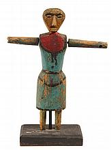 FOLK ART CARVING - Painted Softwood Whirly-Gig Figure of a Woman with outstretched arms, early 19th c, found in Maine. On museum stand.