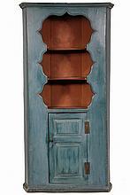 CORNER CUPBOARD - 18th c American Pine, open top, blue & red casein milk paint, molded flat top, 2 concave shelves, raised panel door b