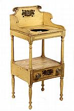COUNTRY WASHSTAND - Early 19th c. Maine Washstand in mustard paint with pinstriping and gold painted theorem on tall ram's horn splash