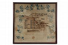 EARLY SAMPLER - Family Birth Record of Walter & Marcy (nee Fairbank) Adams, listing seven children, two of whom died very young, one, n